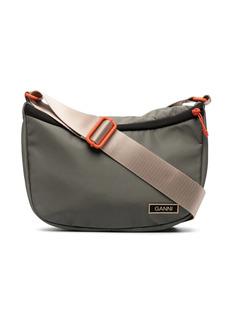 Ganni logo-patch shoulder bag