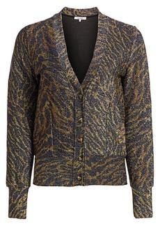 Ganni Lurex Jersey Tiger-Stripe Cardigan