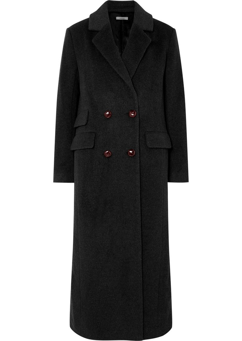 Ganni Mayer Double-breasted Leather-trimmed Wool Coat