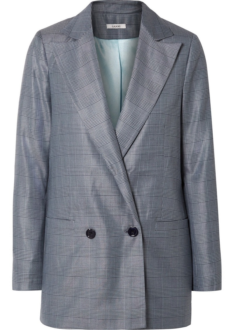Ganni Oversized Checked Silk And Wool-blend Blazer