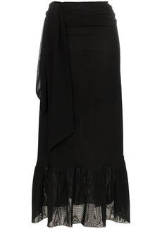 Ganni Addison stretch midi wrap skirt