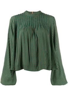 Ganni mock neck plaid blouse