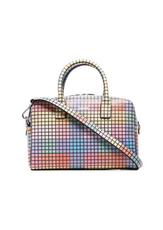 Ganni checked leather tote bag