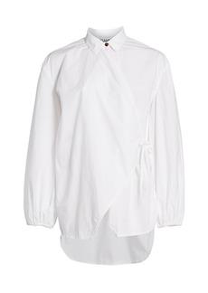 Ganni Oversized Cotton Poplin Wrap Shirt