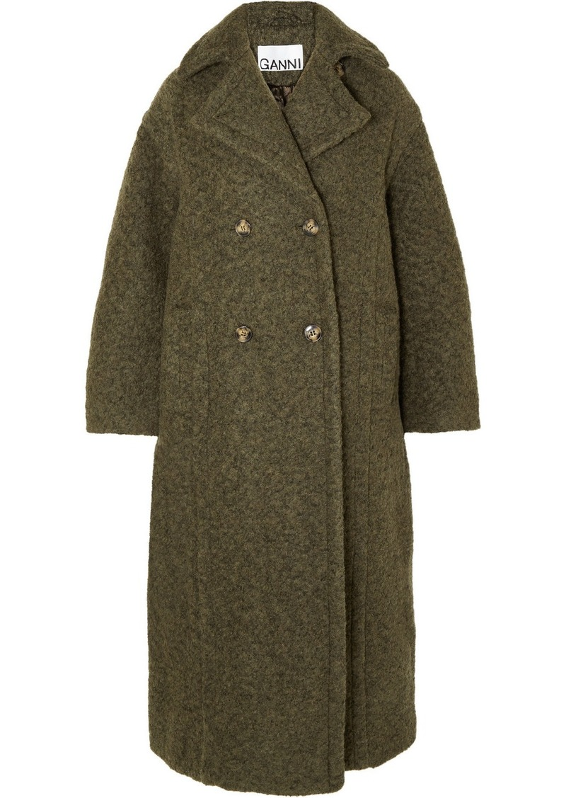 Ganni Oversized Double-breasted Wool-blend Bouclé Coat