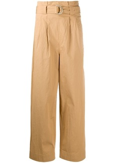Ganni paperbag straight-leg trousers