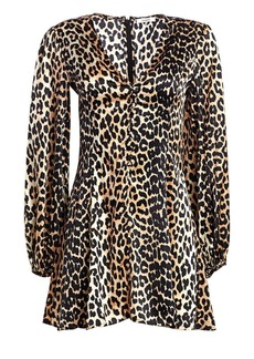 Ganni Paradise Blakely Leopard Silk A-Line Mini Dress