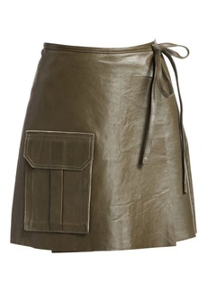 Ganni Meranti Flap Pocket Tie-Waist Leather A-Line Skirt