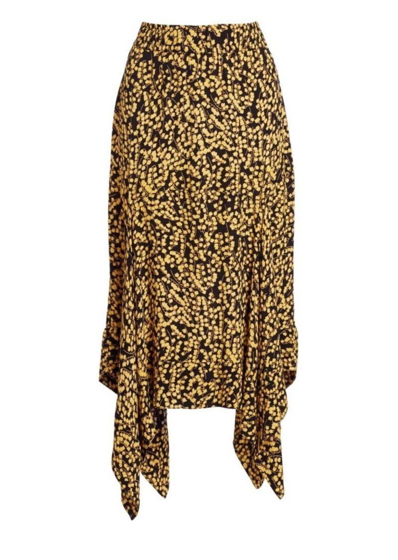 e1a2a1335c2 Ganni Printed Crepe Handkerchief Midi Skirt | Skirts