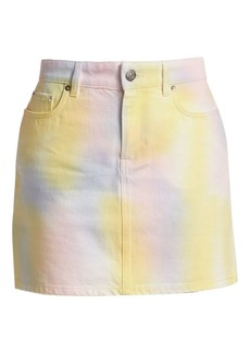Ganni Paradise Tie Die Wash A-Line Denim Skirt