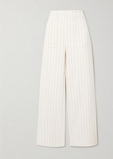 Ganni Pinstriped Crepe Straight-leg Pants
