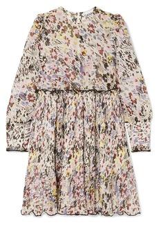 Ganni Floral-print Plissé-georgette Mini Dress