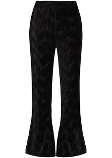 Ganni plissé flared trousers