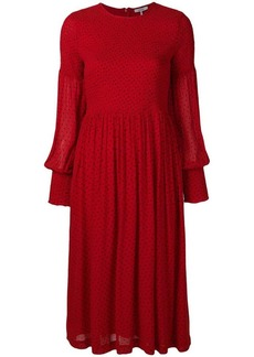 Ganni polka-dot flared midi dress
