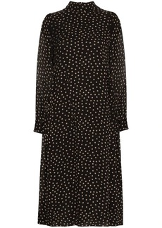 Ganni polka dot long-sleeve dress
