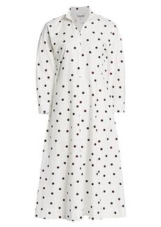 Ganni Polka Dot Poplin Midi Dress