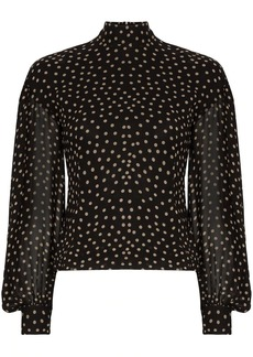 Ganni polka-dot print blouse