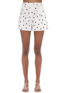 Ganni Polka Dots Cotton Poplin Shorts