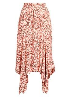 Ganni Print Crepe Handkerchief Midi Skirt