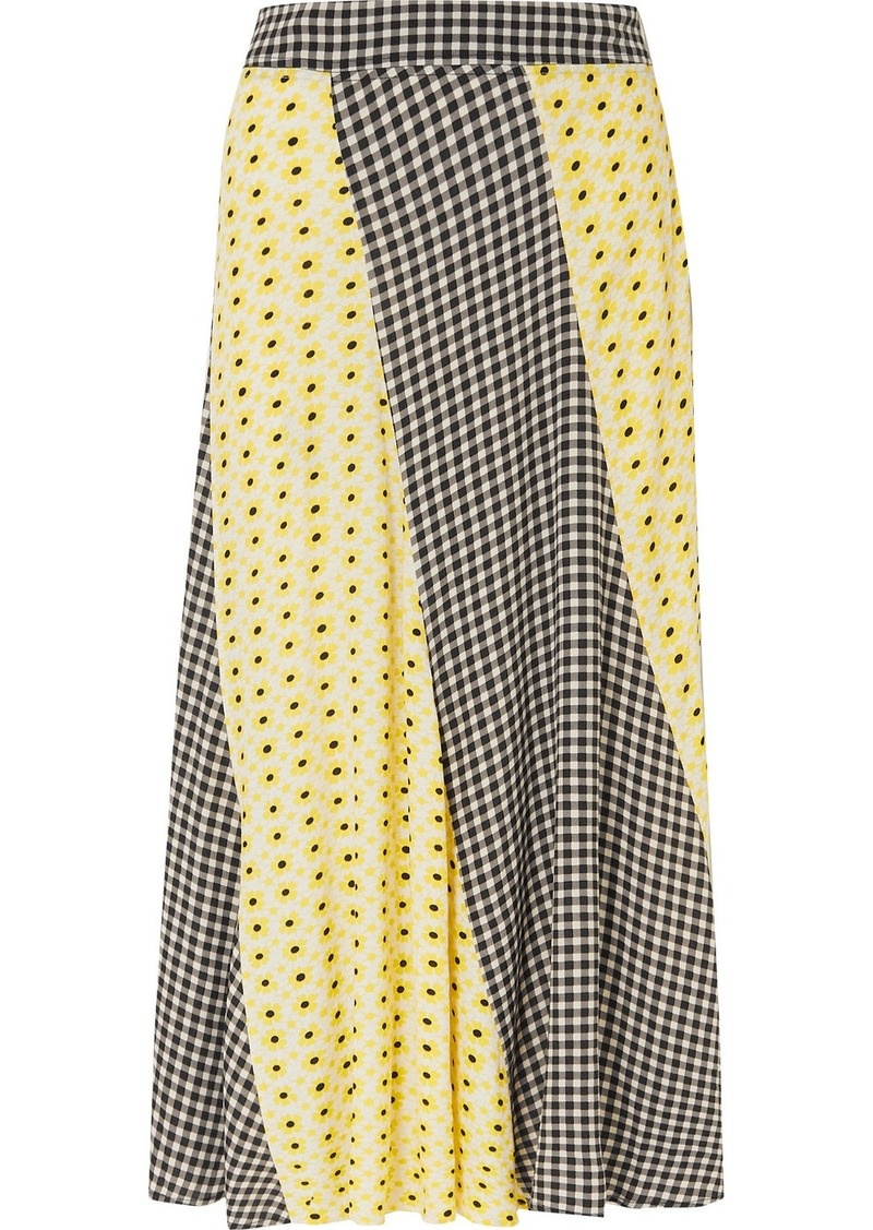 Printed Crepe De Chine Midi Skirt