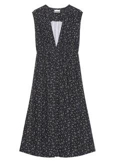 Ganni Printed Crepe Sleeveless Dress