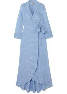 Ganni Printed Georgette Wrap Midi Dress