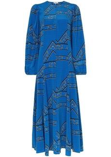 Ganni Cloverdale printed silk maxi dress