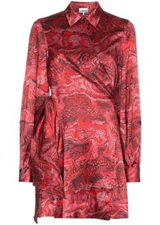 Ganni printed wrap mini dress