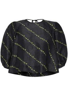 Ganni puff-sleeve floral print top