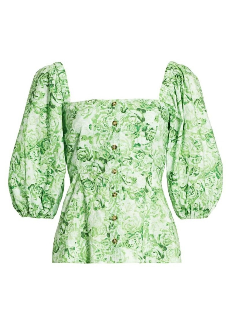 Puff-Sleeve Rose Print Cotton Poplin Blouse