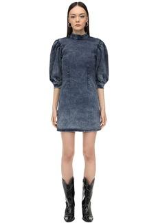 Ganni Puffed Sleeve Cotton Denim Mini Dress