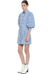 Ganni Puffed Sleeves Eyelet Lace Mini Dress
