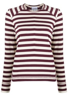Ganni organic cotton striped sweatshirt