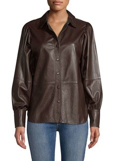 Ganni Rhinehart Button-Down Leather Blouse