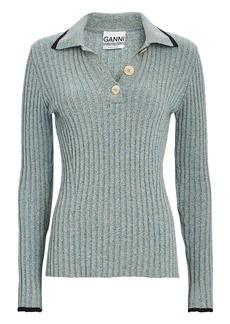 Ganni Rib Knit Polo Sweater