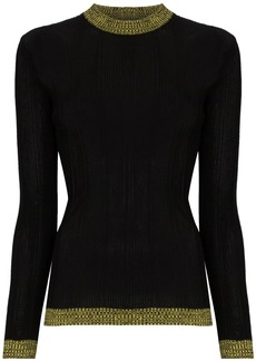 Ganni ribbed contrast detail jumper
