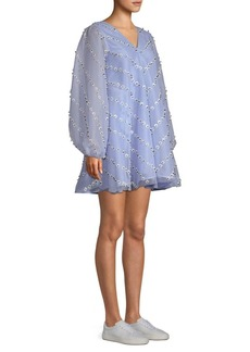 Ganni Rosenfeld Daisy Appliqué Mini Trapeze Dress