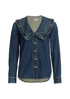 Ganni Ruffle-Collar Denim Shirt