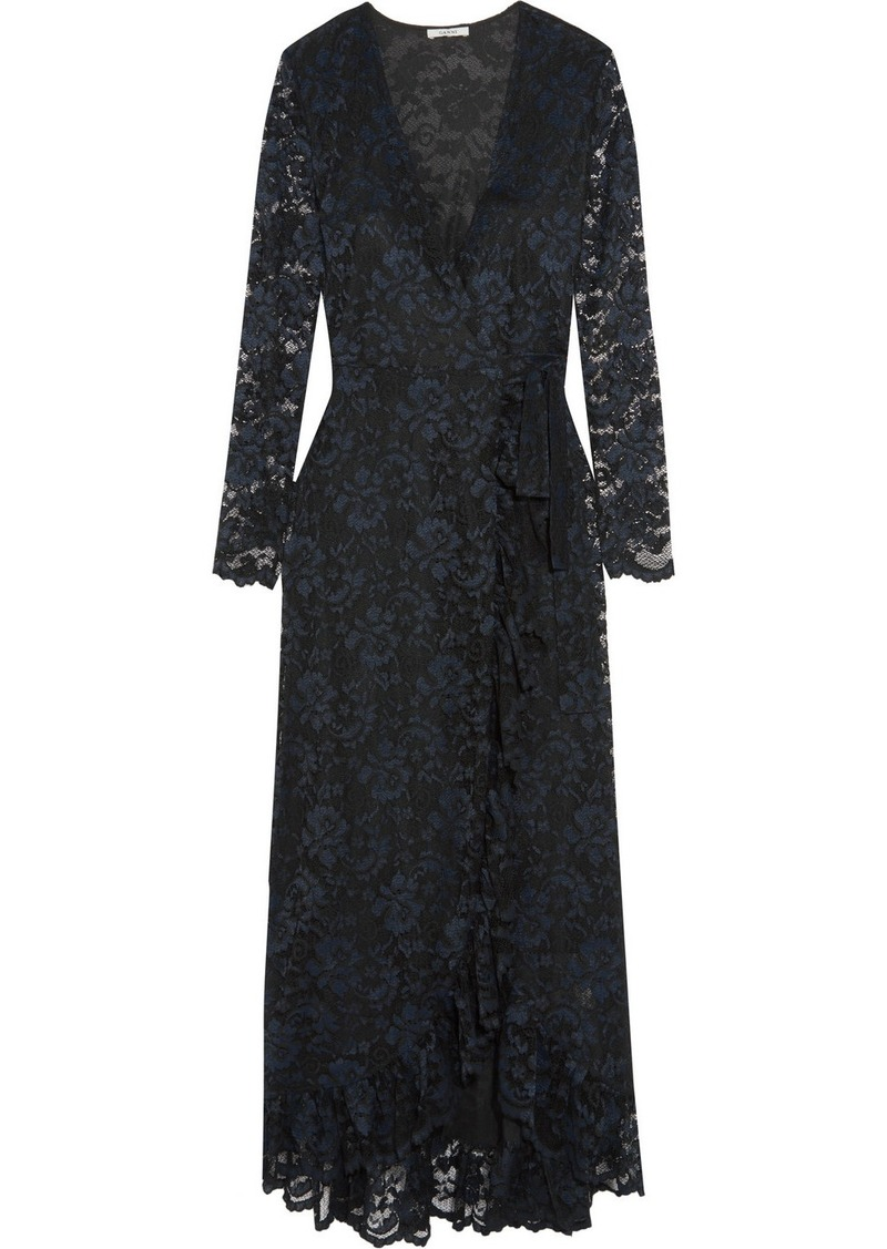 Ganni Ruffle-trimmed Lace Wrap Maxi Dress