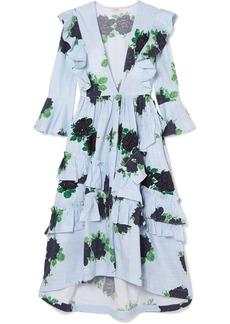Ganni Ruffled Embellished Gingham Cotton Midi Dress