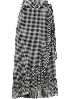 Ganni Ruffled Gingham Mesh Wrap Skirt