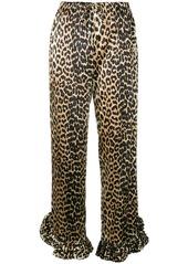 Ganni ruffled hem leopard print trousers