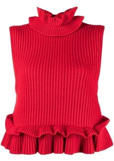 Ganni ruffled knitted top