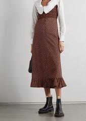 Ganni Ruffled Smocked Gingham Seersucker Midi Dress