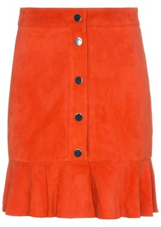 Ganni salvia suede leather mini skirt