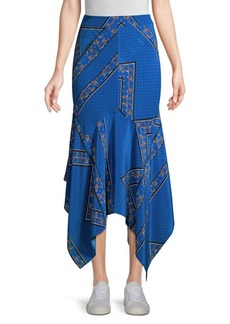 Ganni Sandwashed Silk Handkerchief Hem Skirt