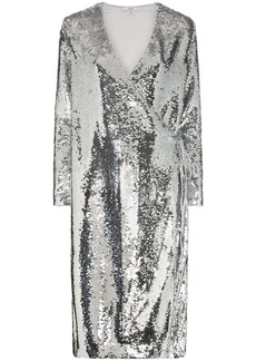 Ganni sonora sequin wrap dress