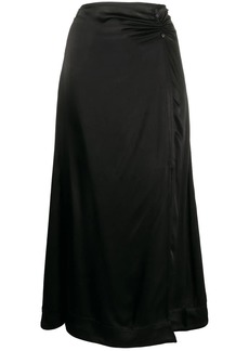 Ganni split-leg satin skirt