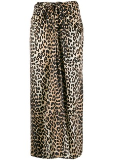 Ganni stretch silk leopard print skirt