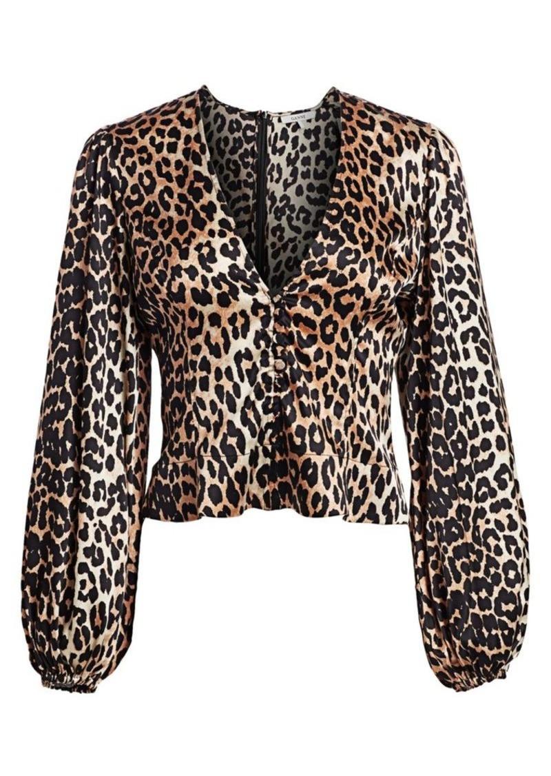 Ganni Stretch Silk Satin Leopard-Print Crop Blouse